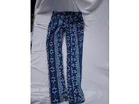Blue patterned stretch denim jeans age 12/13