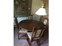 Old Charm Solid Oak Dining Room Table and 6 Chairs - round and extendable