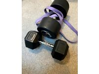 Weights bundle - 36kg dumbbell, 17.5kg dumbell and 36kg heavy band