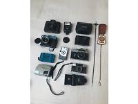 Vintage film camera collection, Polaroid, Pentax, Lomo, Zenit