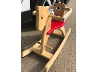 Traditional wooden rocking horse chair