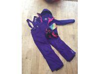 11-12 ski bundle, hi gear purple coat (size 11-12), purple salopettes and gloves