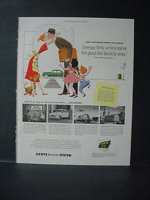 1954 Hertz Car Rental Business Man Says Goodbye To Family Vintage Print Ad 10780