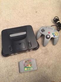 Nintendo n64 console and super mario