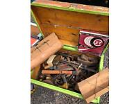 JOBLOT OF MIXED VINTAGE TOOLS IN VINTAGE CHEST