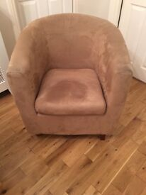 Tub chair. Brown faux suade, excellent condition