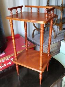 "Oakville 30"" High Wood Hall Side Table shelf Rosewood color Red Brown 2 Shelves Ornate Solid Vintage Retro spindles"