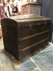 Vintage Antique French Domed Trunk Chest
