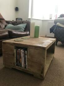 Reclaimed wood coffee table with dvd storage