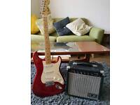 Fender Squier Stratocaster with practice amp
