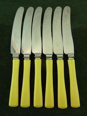 6 Vintage Mutual Dessert Side Knives Ivory coloured resin handles