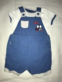 Mothercare blue dungarees set Size 3-6 months