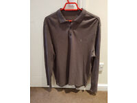 MENS ALL SAINTS LONG SLEEVE POLO TOP SIZE LARGE