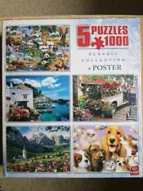 Jigsaw puzzles - sealed set of 5 x 1000 pieces