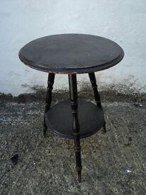 Antique Cricket Table, side table, Ebonised black, Needs tlc, wobbly, 38cm diameter