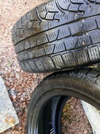 "Pirelli winter tyres 17""run flats very little wear. Be ready for snow. A bargain at £95 for 2"