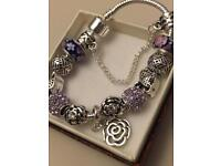 Silver plated full charm bracelet - New