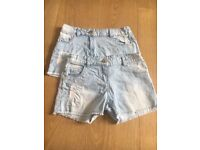 TU light denim girls shorts size 9y x2