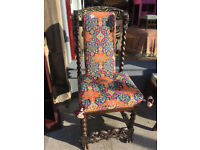 Oriental Carved Oak Hall Chair with needlework back and seat . Really must be seen , total one off !