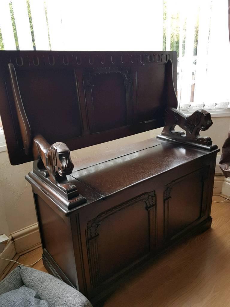 Monks bench antique storage chest