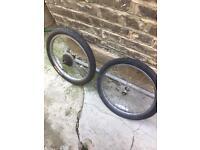 "Pair of 20"" wheels for folding bikes."