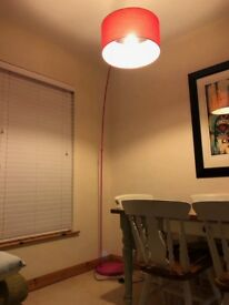 Pink sweep floor lamp