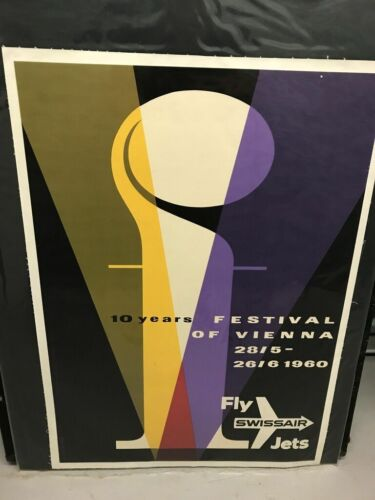 Vintage SWISSAIR Festival of Vienna Poster - Linen backed