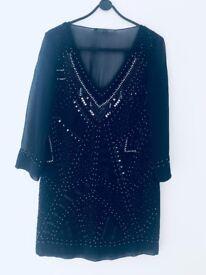 French Connection Navy Silk Chiffon Dress Size 8