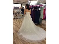 Stunning Berketex Wedding Gown with Beautiful Train, size 16 (fits size 12-14)