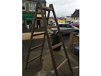 Splendid Heavy Solid Tall Vintage Wooden Double Side Step Ladder – Storage Prop Display