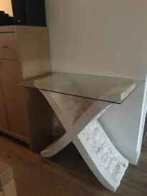 Cream Granite and glass side table