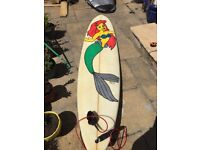 """7'4"""" surf board with little mermaid painting"""