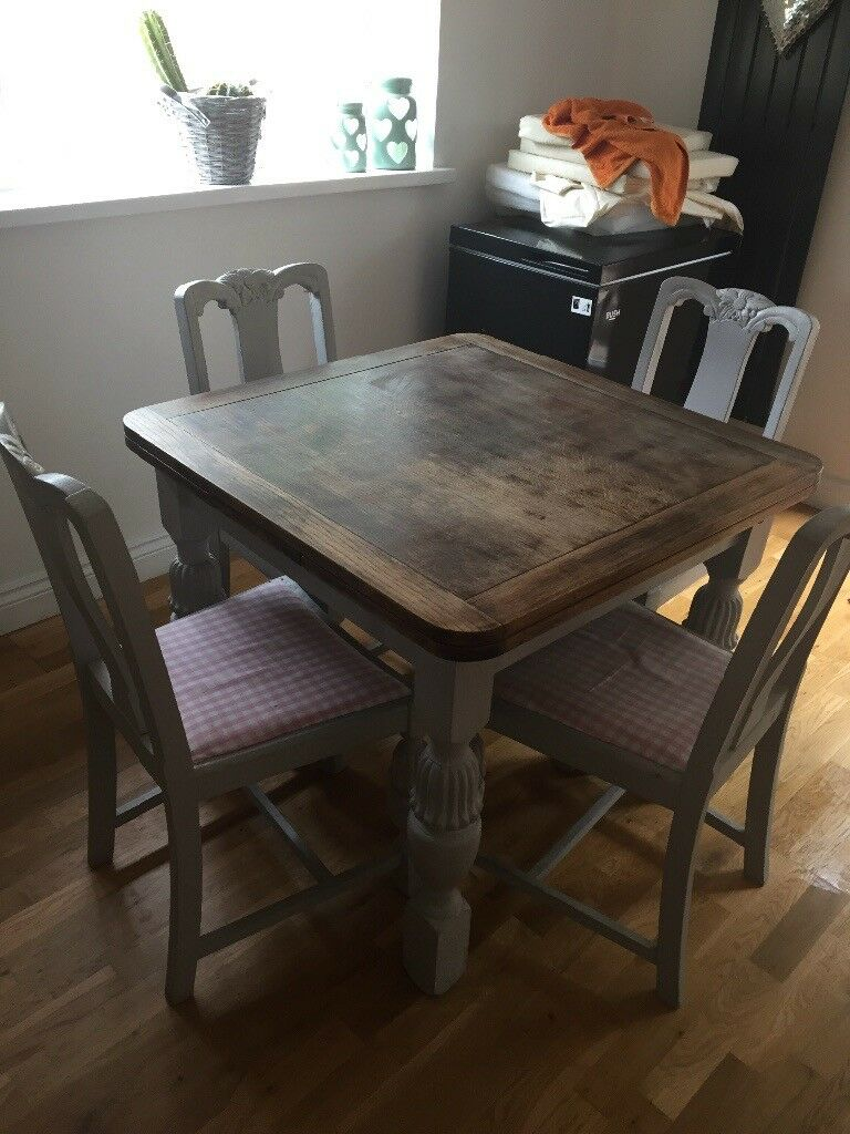 Extendable Farmhouse Style Dining Table And 4 Chairs