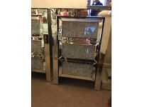 One crushed diamond bedside cabinet 2 available for £325