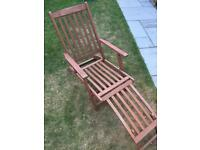 Solid Wood Sun Lounger (Steamer Chair) with Cushion