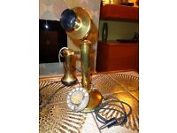 Vintage Solid Brass Candlestick Rotary Telephone