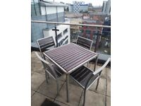 Wooden Table with 4 Chairs for Balcony/Garden