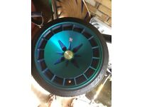 """15"""" kms clutch km16 8.5j all round 4 spoke, 2 tyres bald due to camber two ok tyres perfect."""
