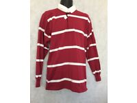 "Mens Stripe Long Sleeve Rugby Polo Shirt Top Size 42"" Chest #W603"