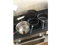 Various pots/ pans including wok & baking trays