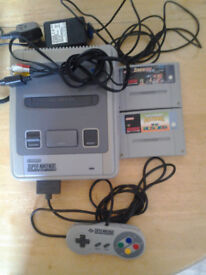 snes with mario allstars,starwing,controller and leads.
