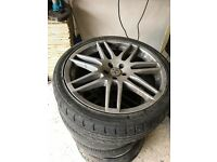rs4 alloys wheels with tyres fit seat vw bora golf 5x100
