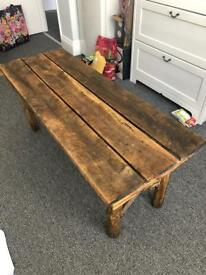 Rustic hand made craft wood coffee or garden table