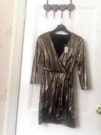 New look gold dress, size 12