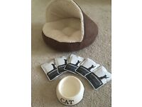 Kitten Cat Igloo pet Bed and Bowl