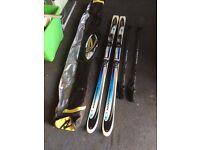 2 pairs snow skis