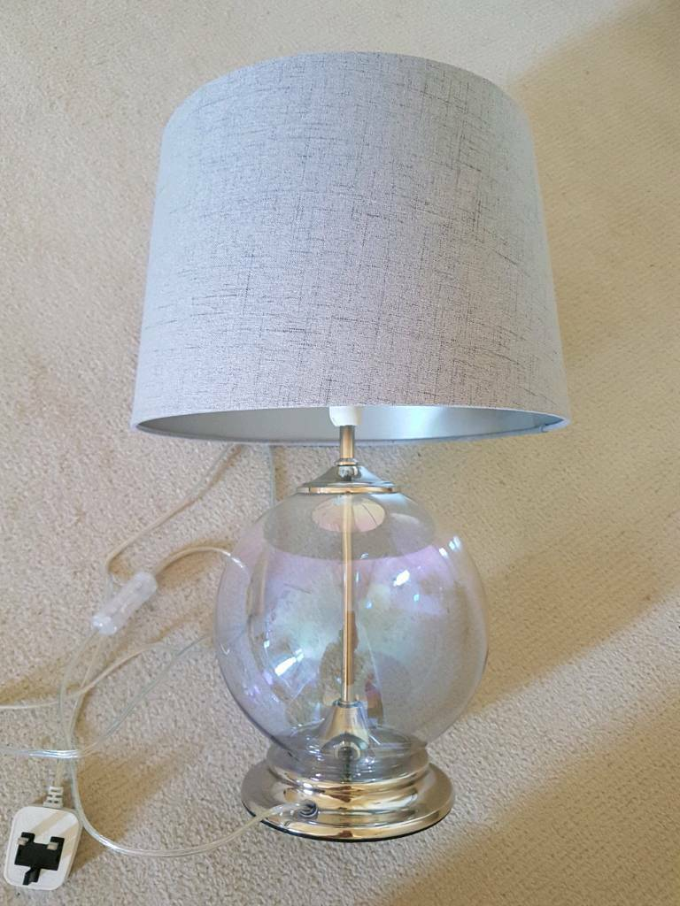 Fox ivy iridescent glass and linen table lamp brand new