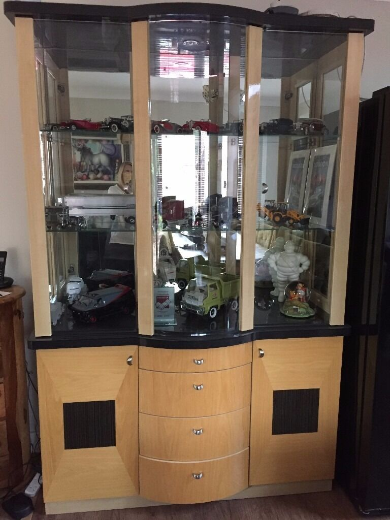 Harveys Sienna Glass & Mirrored Display Cabinet with LED Lights ...