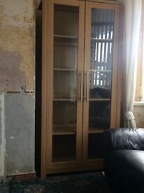 Oak China cabinet with interior light good condition