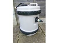 camping items - water container with pump. waste container aquaroll handle cover